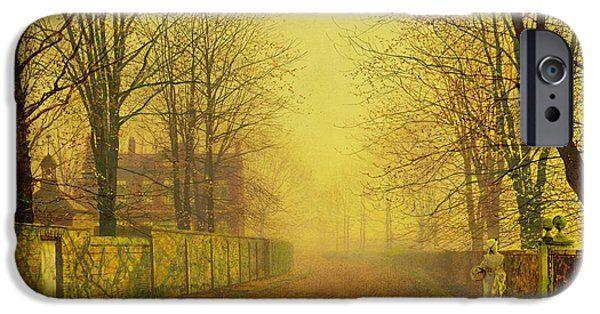 Fallen Leaves iPhone Cases - Evening Glow iPhone Case by John Atkinson Grimshaw