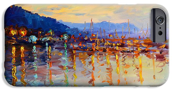 Hudson River iPhone Cases - Evening Reflections in Piermont Dock iPhone Case by Ylli Haruni
