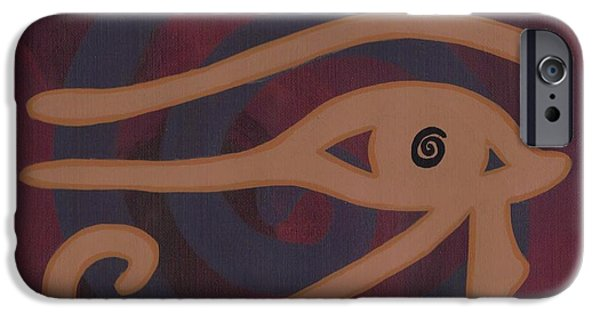 Horus Paintings iPhone Cases - Eye of Horus iPhone Case by Jill Christensen