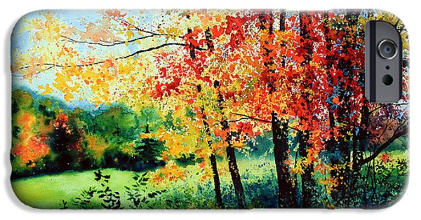 Quebec Paintings iPhone Cases - Fall Color iPhone Case by Hanne Lore Koehler