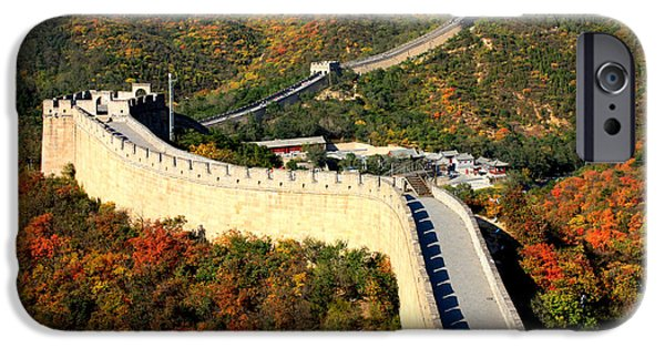 Historic Site iPhone Cases - Fall Foliage at the Great Wall iPhone Case by Carol Groenen