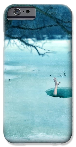 Frigid iPhone Cases - Fallen Through the Ice iPhone Case by Jill Battaglia