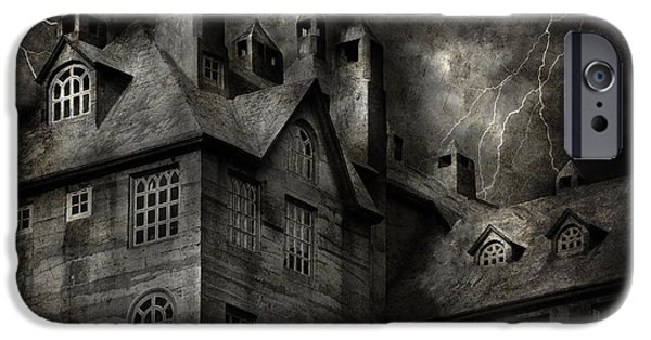 Haunted House iPhone Cases - Fantasy - Haunted - It was a dark and stormy night iPhone Case by Mike Savad