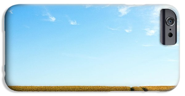 Field. Cloud iPhone Cases - Farmland to the horizon 1 iPhone Case by Heiko Koehrer-Wagner