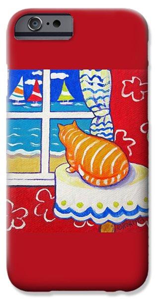 Sailboats iPhone Cases - Fat Orange Tabby Cat Window Seashore Sailboats  iPhone Case by Rebecca Korpita