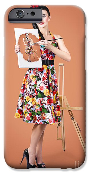 Working Artist iPhone Cases - Female artist paints self portrait with oil paint iPhone Case by Ryan Jorgensen