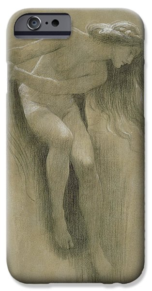 Lady Pastels iPhone Cases - Female Nude Study  iPhone Case by John Robert Dicksee