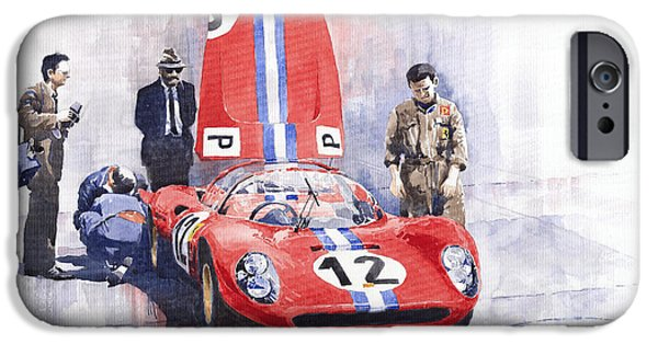Sportcars iPhone Cases - Ferrari 206 SP Dino 1966 Nurburgring Pit Stop iPhone Case by Yuriy  Shevchuk