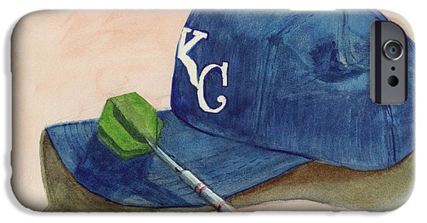 Baseball Stadiums Paintings iPhone Cases - Fielder iPhone Case by Terry Lewey
