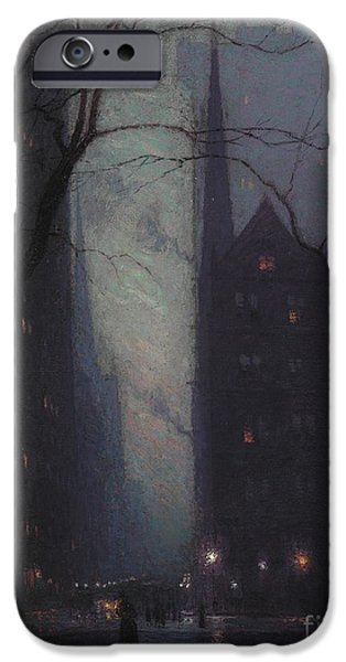 Fall Scenes iPhone Cases - Fifth Avenue at Twilight iPhone Case by Lowell Birge Harrison