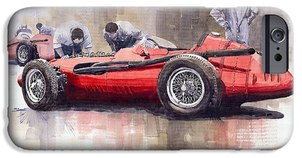 Automotive iPhone Cases - Final check before the start Maserati 250 F 1957 iPhone Case by Yuriy  Shevchuk