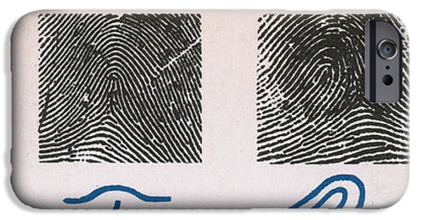 Analyzing iPhone Cases - Fingerprint Patterns iPhone Case by Photo Researchers