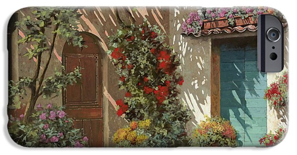 Door iPhone Cases - Fiori In Cortile iPhone Case by Guido Borelli
