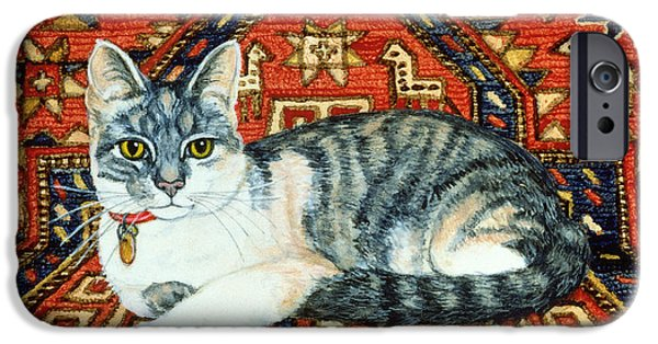 Persian Carpet iPhone Cases - First Carpet Cat Patch iPhone Case by Ditz