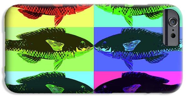 IPhone 6 Case featuring the digital art Fish Dinner Pop Art by Nancy Merkle