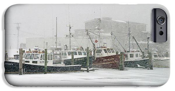 Winter Storm iPhone Cases - Fishing boats during winter storm Sandwich Cape Cod iPhone Case by Matt Suess