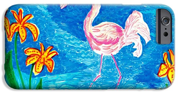 Sue Burgess Ceramics iPhone Cases - Flamingo iPhone Case by Sushila Burgess