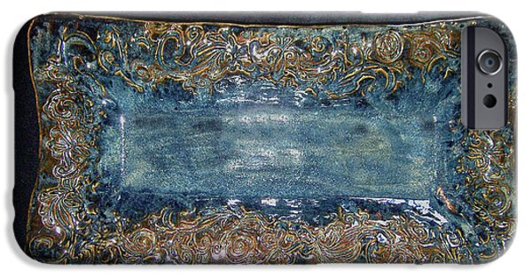 Ceramics iPhone Cases - Flourish Slab Tray Licorice Glaze iPhone Case by Carolyn Coffey Wallace