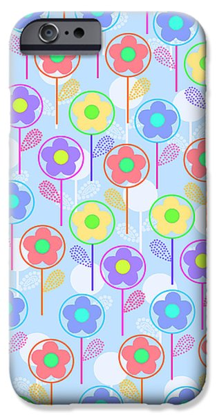 Abstractions Digital iPhone Cases - Flowers iPhone Case by Louisa Knight