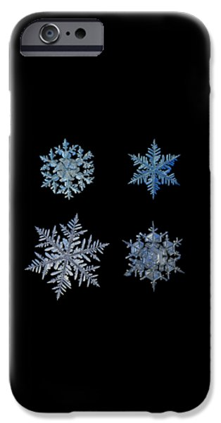 Four Snowflakes On Black Background IPhone 6 Case