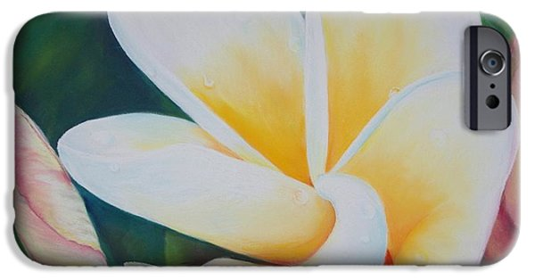 Raining Pastels iPhone Cases - Frangipani after rain iPhone Case by Loueen Morrison