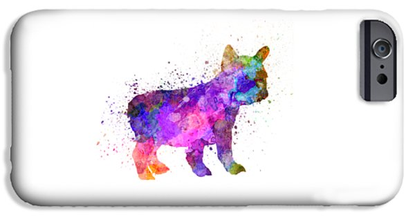 Dogs iPhone Cases - French Bulldog puppy 01 in watercolor iPhone Case by Pablo Romero