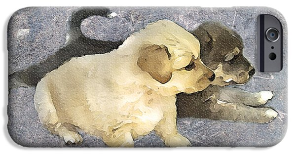 Puppy Digital Art iPhone Cases - Friends Forever  iPhone Case by Svetlana Sewell
