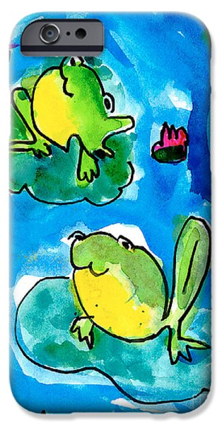 Lilly Pads iPhone Cases - Frogs iPhone Case by Elyse Bobczynski Age Five