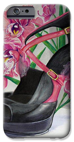 Fuschia iPhone Cases - Fuchsia Orchid Colour Block iPhone Case by Karon Melillo DeVega
