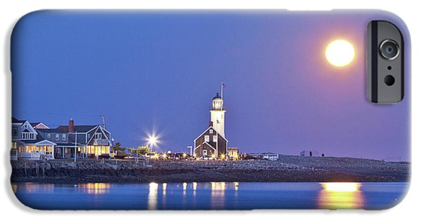 New England Lighthouse iPhone Cases - Full Moon over Scituate Light iPhone Case by Susan Cole Kelly