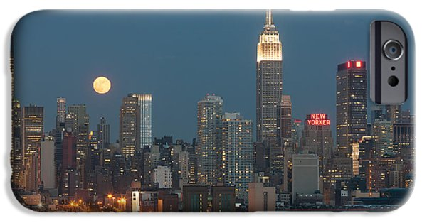Hudson River iPhone Cases - Full Moon Rising Over New York City II iPhone Case by Clarence Holmes