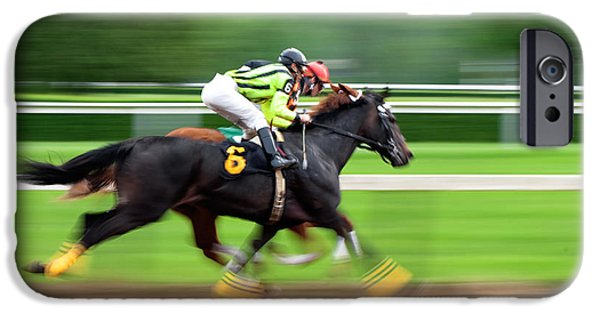 Horse Racing Photographs iPhone Cases - Full Stride iPhone Case by Keith Allen