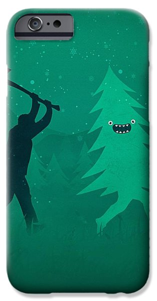 Funny Cartoon Christmas Tree Is Chased By Lumberjack Run Forrest Run IPhone 6 Case