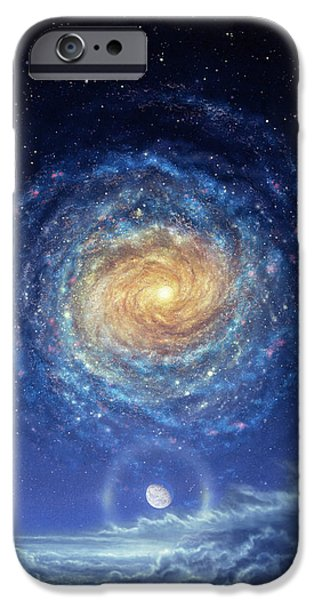 Galaxy Paintings iPhone Cases - Galaxy Rising iPhone Case by Don Dixon