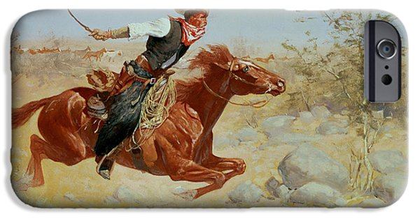 Horseback Riding iPhone Cases - Galloping Horseman iPhone Case by Frederic Remington