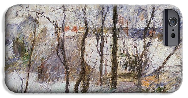 1879 iPhone Cases - Garden under Snow iPhone Case by Paul Gauguin