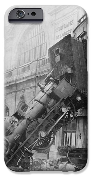 Nineteenth iPhone Cases - Gare Montparnasse Train Wreck 1895 iPhone Case by Photo Researchers