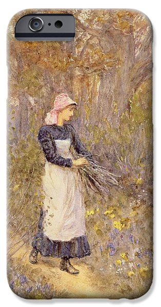 Apron iPhone Cases - Gathering Wood for Mother iPhone Case by Helen Allingham