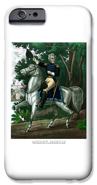 President iPhone Cases - General Andrew Jackson On Horseback iPhone Case by War Is Hell Store
