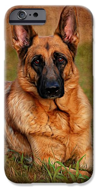 Canine Digital iPhone Cases - German Shepherd Dog Portrait  iPhone Case by Angie Tirado