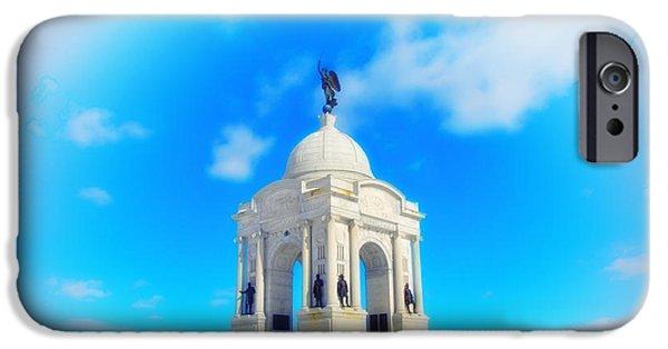 Gettysburg Digital iPhone Cases - Gettysburg Memorial in Winter iPhone Case by Bill Cannon