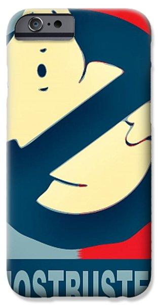 Obama Drawings iPhone Cases - Ghostbusters iPhone Case by Paul Van Scott