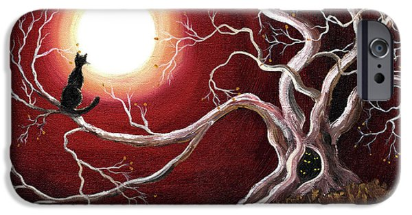 Spooky Paintings iPhone Cases - Ghostly Tree with Black Cat iPhone Case by Laura Iverson