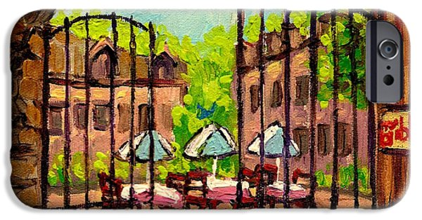 Montreal Land Marks Paintings iPhone Cases - Gibbys Restaurant In Old Montreal iPhone Case by Carole Spandau