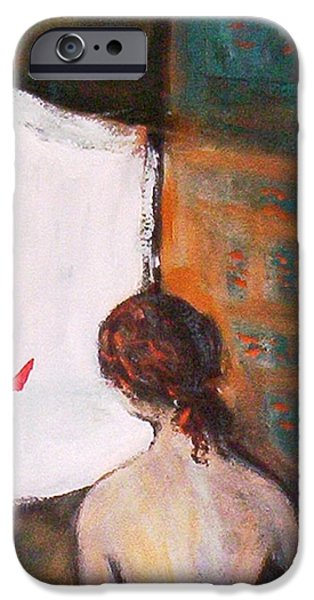 IPhone 6 Case featuring the painting Girl At The Window by Winsome Gunning