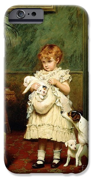 Cute Puppy iPhone Cases - Girl with Dogs iPhone Case by Charles Burton Barber