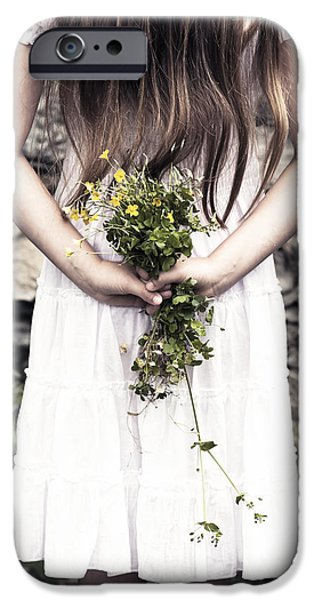 Young Photographs iPhone Cases - Girl With Flowers iPhone Case by Joana Kruse