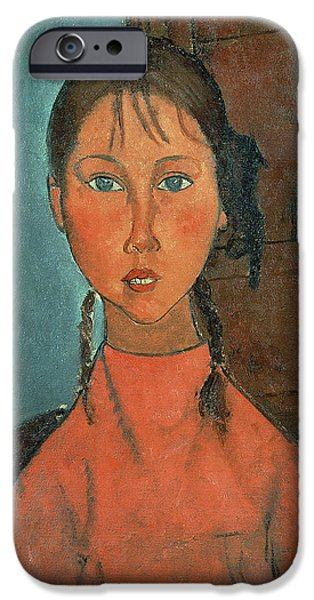 1920 iPhone Cases - Girl with Pigtails iPhone Case by Amedeo Modigliani