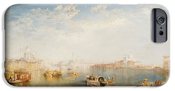 Sail Boat iPhone Cases - Giudecca La Donna della Salute and San Giorgio  iPhone Case by Joseph Mallord William Turner