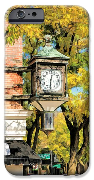 IPhone 6 Case featuring the painting Glen Ellyn Corner Clock by Christopher Arndt